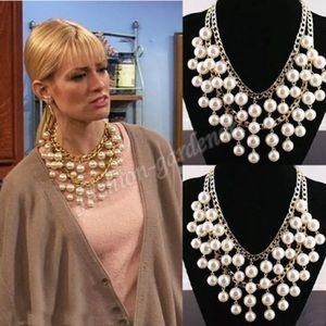 ❤️gorgeous multilayer pearl gold statement necklac